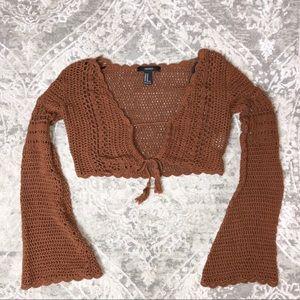 Bell Sleeve Crochet Crop Top with String Tassels